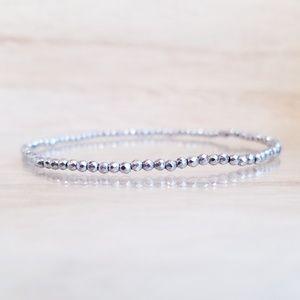 Hematite Faceted Dainty Beaded Gemstone Bracelet